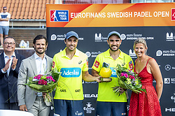 July 29, 2018 - BÅ'Stad, Sverige - 180729 H.K.H. Prins Carl Philip, Fernando Belasteguin, Pablo Lima och Kristina Gustavsson under prisutdelningen efter under i Swedish Padel Open den 29 juli 2018 i BÅ'stad  (Credit Image: © Christian …Rnberg/Bildbyran via ZUMA Press)