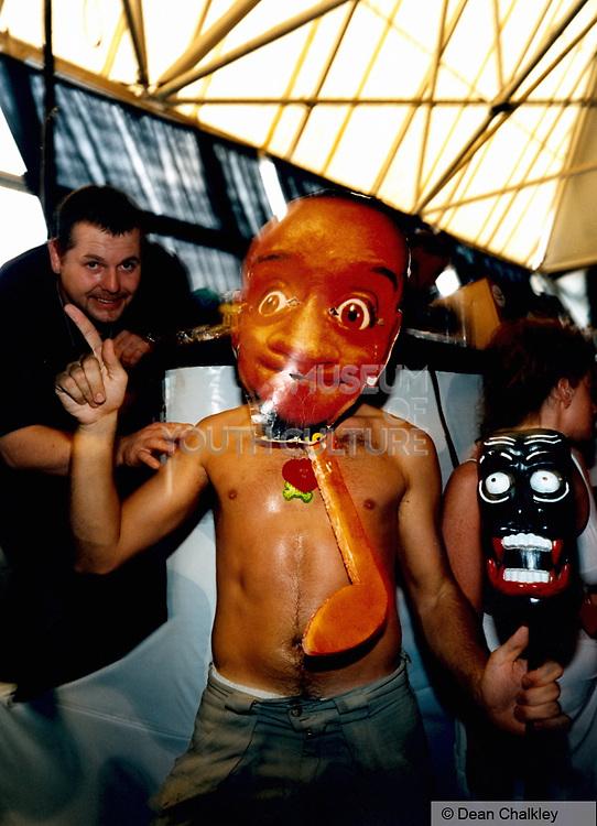 Man wearing a cardboard mask Ibiza 1998