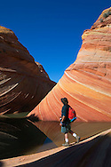 Hiker next to Seasonal desert pool of water below striated sandstone at The Wave, Coyote Buttes, Paria Canyon Vermilion Cliffs Wilderness, Arizona