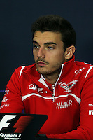 Jules Bianchi (FRA) Marussia F1 Team in the FIA Press Conference.<br /> Japanese Grand Prix, Thursday 2nd October 2014. Suzuka, Japan.