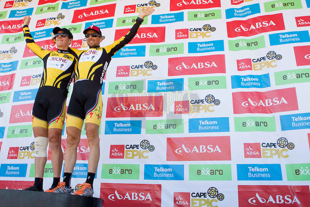 The overall winners Juroslav Kulhavy (left) and Christoph Sauser(right) of Team Burry Stander SONGO  of the 2013 Absa Cape Epic Mountain Bike stage race at Lourensford Wine Estate in Somerset West, South Africa on the 24 March 2013..Photo by Greg Beadle/Cape Epic/SPORTZPICS