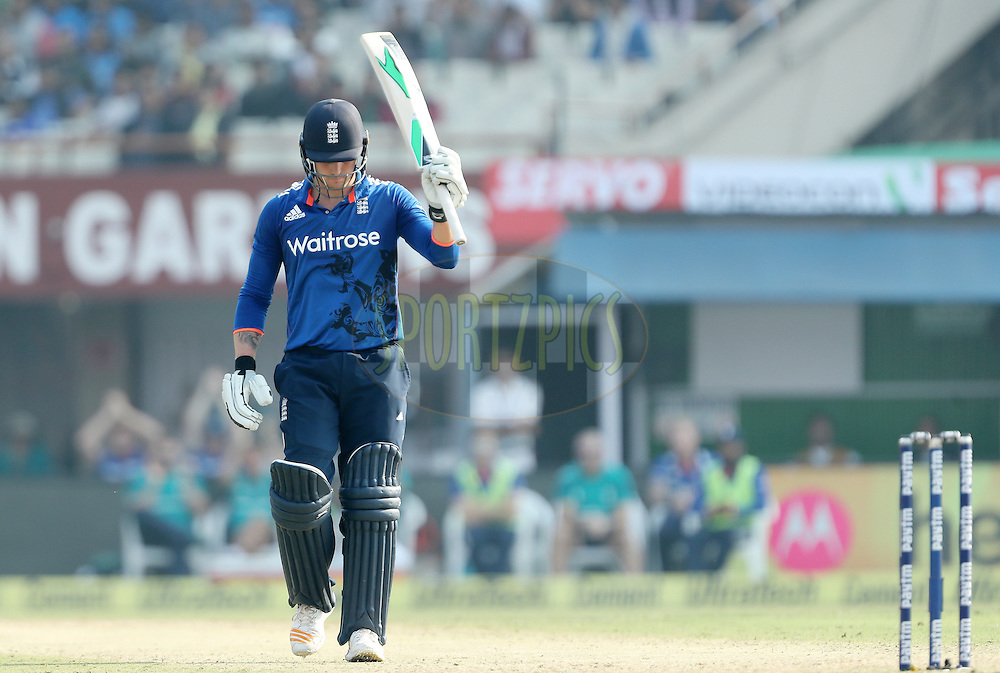 Jason Roy of England celebrates his Fifty during the third One Day International (ODI) between India and England  held at Eden Gardens in Kolkata on the 22nd January 2017<br /> <br /> Photo by: Ron Gaunt/ BCCI/ SPORTZPICS