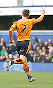 Wolverhampton Wanderers midfielder James Henry celebrates his goal that deflected past Queens Park Rangers goalkeeper Alex Smithies during the Sky Bet Championship match between Queens Park Rangers and Wolverhampton Wanderers at the Loftus Road Stadium, London, England on 23 January 2016. Photo by Andy Walter.