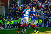 James Tavernier (C) of Rangers FC celebrates with Ryan Kent of Rangers FC during the Ladbrokes Scottish Premiership match between Rangers and Celtic at Ibrox, Glasgow, Scotland on 12 May 2019.