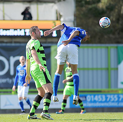 Macclesfield Town's Thierry Audel wins the high ball against Forest Green Rovers's Jonathan Parkin - Photo mandatory by-line: Nizaam Jones - Mobile: 07966 386802 - 11/04/2015 - SPORT - Football - Nailsworth - The New Lawn - Forest Green Rovers v Macclesfield Town - Vanarama Football Conference