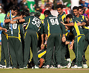 Pakistan celebrate winning the ICC World Twenty20 Cup Final against Sri Lanka at Lord's. Shahid Afridi kisses the ground. Photo © Graham Morris (Tel: +44(0)20 8969 4192 Email: sales@cricketpix.com)