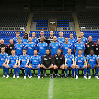 St Johnstone FC Photocall...Season 2010-11<br /> Back Row from left, Scott Dobie, Collin Samuel, Steven Anderson, Graeme Smith, Peter Enckelman, Liam Craig, Steven Milne, Danny Grainger.<br /> Middle row from left, Jocky Peebles Asst Physio, Atholl Henderson Community Coach, Nick Summersgill Physio, Johnny Lindsay, Kevin Rutkiewicz, Michael Duberry, Sam Parkin, Graham Gartland, Martin Hardie, Gordon Marshall Goalkeeping Coach, Alec Cleland U19 Coach, Tommy Campbell Youth Development Manager.<br /> Front row from left, Marcus Haber, Andy Jackson, Kevin Moon, Jody Morris, Derek McInnes Manager, Tony Docherty Asst Manager, Dave Mackay, Chris Millar, Cleveland Taylor and Peter MacDonald<br /> Picture by Graeme Hart.<br /> Copyright Perthshire Picture Agency<br /> Tel: 01738 623350  Mobile: 07990 594431