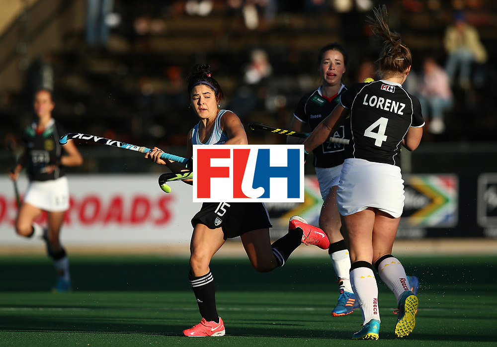 JOHANNESBURG, SOUTH AFRICA - JULY 20:  Maria Granatto of Argentina nattles with Nike Lorenz of Germany during day 7 of the FIH Hockey World League Women's Semi Finals semi final match between Germany and Argentina at Wits University on July 20, 2017 in Johannesburg, South Africa.  (Photo by Jan Kruger/Getty Images for FIH)