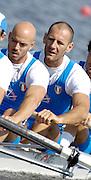 Poznan, POLAND,ITA M4-, right  Alessio SARTORI, Lorenzo CARBONCINI , at the start of their Repechage at the 2008 FISA World Cup. Rowing Regatta. Malta Rowing Course on Saturday, 21/06/2008. [Mandatory Credit:  Peter SPURRIER / Intersport Images] Rowing Course:Malta Rowing Course, Poznan, POLAND