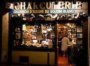 Charcuterie meat shop window in Rue Dauphine, Left Bank, Paris, France