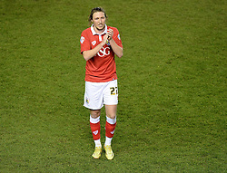 Bristol City's Luke Ayling claps the home support.- Photo mandatory by-line: Alex James/JMP - Mobile: 07966 386802 - 29/01/2015 - SPORT - Football - Bristol - Ashton Gate - Bristol City v Gillingham - Johnstone Paint Trophy Southern area final