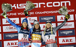 08.02.2019, WM Strecke, Aare, SWE, FIS Weltmeisterschaften Ski Alpin, alpine Kombination, Siegerehrung, Damen, im Bild Wendy Holdener (SUI) aus der Schweiz ist die alte und neue Weltmeisterin in der Super Kombination Siegerbild von links: Petra Vlhova (SVK), Wendy Holdener (SUI), Ragnhild Mowinckel (NOR) // Wendy Holdener (SUI) aus der Schweiz ist die alte und neue Weltmeisterin in der Super Kombination Siegerbild von links: Petra Vlhova (SVK), Wendy Holdener (SUI), Ragnhild Mowinckel (NOR) during the winner Ceremony for the ladie's alpine combination of FIS Ski World Championships 2019. WM Strecke in Aare, Sweden on 2019/02/08. EXPA Pictures © 2019, PhotoCredit: EXPA/ SM<br /> <br /> *****ATTENTION - OUT of GER*****