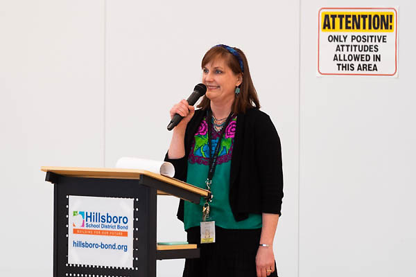 Principal Lindsey Garcia spoke during a ribbon cutting ceremony in the new gymnasium at Eastwood Elementary School in Hillsboro, Ore., on Tuesday, Feb. 4, 2020.