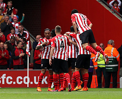 Southampton players celebrate Southampton's Graziano Pelle second goal - Photo mandatory by-line: Robbie Stephenson/JMP - Mobile: 07966 386802 - 25/04/2015 - SPORT - Football - Southampton - ST Marys Stadium - Southampton v Tottenham Hotspur - Barclays Premier League