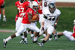 20 October 2012:  Tyrone Walker pursued by Nick Canavan during an NCAA Missouri Valley Football Conference football game between the Missouri State Bears and the Illinois State Redbirds at Hancock Stadium in Normal IL