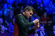 Ryan Day checks his tip during the Ladbrokes World Grand Prix at Preston Guildhall, Preston, United Kingdom on 12 February 2017. Photo by Pete Burns.