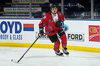 KELOWNA, CANADA - MARCH 9:  Schael Higson #21 of the Kelowna Rockets warms up against the Kamloops Blazers on March 9, 2019 at Prospera Place in Kelowna, British Columbia, Canada.  (Photo by Marissa Baecker/Shoot the Breeze)