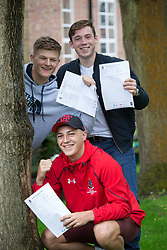 "© Licensed to London News Pictures. 15/08/2016. Sutton Coldfield, West Midlands,UK. Bishops Vesey's Grammar School pupils celebrating their A level results. Pictured, Joe Webb, Charlie Steventon, Laurie Harries. Headmaster Dominic Robson said, ""The pupils had done amazingly well, achieving 80% A star and B grades especially given the change to the marking of the A level system this year. Photo credit: Dave Warren/LNP"
