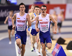 Norway brothers Jakob and Henrik Ingebrigtsen running in the Men's 3000m during day two of the European Indoor Athletics Championships at the Emirates Arena, Glasgow.