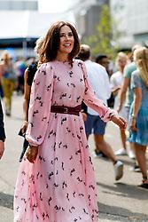 Street style, Crown Princess Mary of Denmark arriving CIFF International fashion fair held at Bella Center during Copenhagen Fashion Week, in Copenhagen, Denmark, on August 8th, 2018. Photo by Marie-Paola Bertrand-Hillion/ABACAPRESS.COM  | 649014_070 Copenhagen Danemark Denmark
