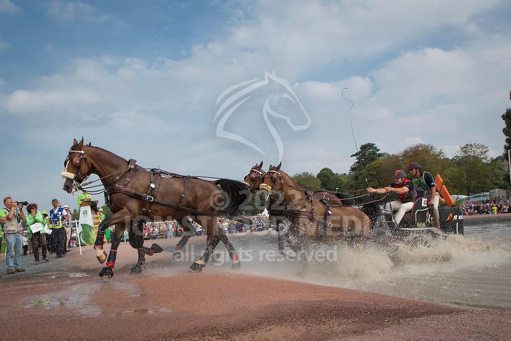 Chester Weber, (USA), Boris W, Boy W, Para, Splash, Uniek - Driving Marathon - Alltech FEI World Equestrian Games&trade; 2014 - Normandy, France.<br /> &copy; Hippo Foto Team - Dirk Caremans<br /> 06/09/14