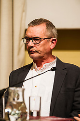 Pictured: Professor Neil Blain<br /> <br /> Scottish event to inform the 'Future for Public Service Television Inquiry' chaired by Lord Puttnam. Speakers are Angela Haggerty, Editor, Common Space; David Fleetwood, Policy Official, Scottish Government; Stuart Cosgrove, journalist, broadcaster and former Head of Programmes (Nations and Regions), Channel 4; Professor Neil Blain, Professor Emeritus of Communications at the University of Stirling; John McCormick FRSE, Chair of the Scottish Screen Leadership Group, and former Controller of BBC Scotland <br /> Ger Harley | EEm 13 April 2016