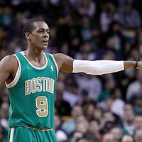 09 March 2012: Boston Celtics point guard Rajon Rondo (9) sets the defense during the Boston Celtics 104-86 victory over the Portland Trail Blazers at the TD Banknorth Garden, Boston, Massachusetts, USA.