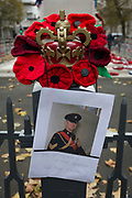 A memorial to a soldier named Gary Golbey wreaths lie after Remembrance Sunday at the Cenotaph in London's Whitehall, on 12th November 2019, in London, England. A Gulf War veteran who developed a brain tumour but went back on active service had died, aged 42. Colour Sergeant Gary Golbey, originally from Kidsgrove, was taken ill in 2005 when he was part way through his second tour of service in Iraq. But he fought back from his illness to return to the army while in remission. The champion Army boxer spent more than two decades with the Staffords – now 3 Mercian – and saw active service in Northern Ireland, Bosnia and Iraq, where he completed two tours of duty.