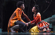 Mara Lavitt -- Special to the Hartford Courant<br /> March 24, 2016<br /> The run-through of William Shakespeare's &quot;Cymbeline,&quot; at the University Theatre at Yale. Miriam A. Hyman as Posthumus Leonatus and Sheria Irving as Imogen.