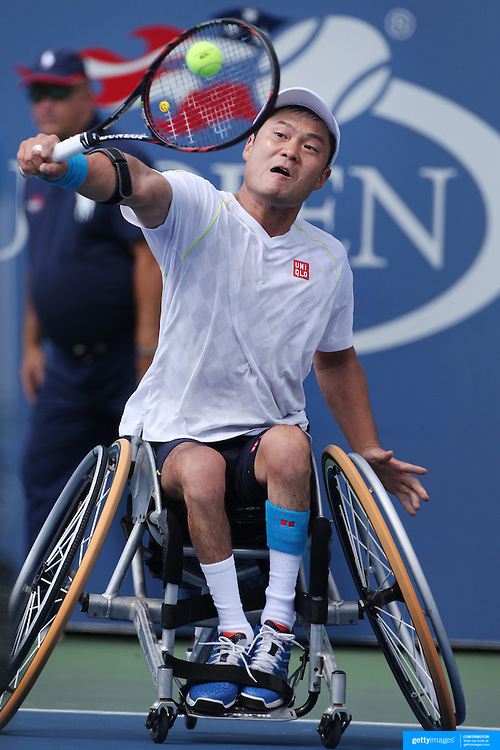 Shingo Kunieda, Japan, in action, winning in three sets against Stephane Houdet, France, in the  Wheelchair Men's Singles Final during the US Open Tennis Tournament, Flushing, New York, USA. 13th September 2015. Photo Tim Clayton