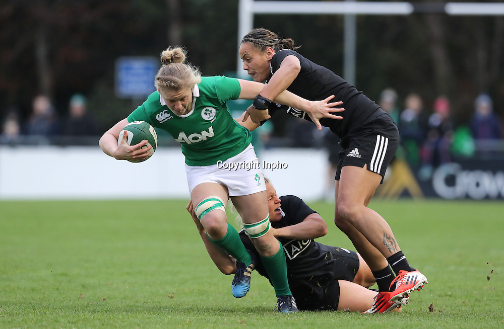 Women's November Series, Belfield Bowl, UCD 27/11/2016<br /> Ireland vs New Zealand <br /> Ireland's Claire Molloy with Chelsea Alley and Selicia Winata of New Zealand<br /> Mandatory Credit &copy;INPHO/Morgan Treacy