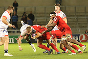 Mike Haley tackled during the European Rugby Challenge Cup match between Sale Sharks and Toulouse at the AJ Bell Stadium, Eccles, United Kingdom on 13 October 2017. Photo by George Franks.