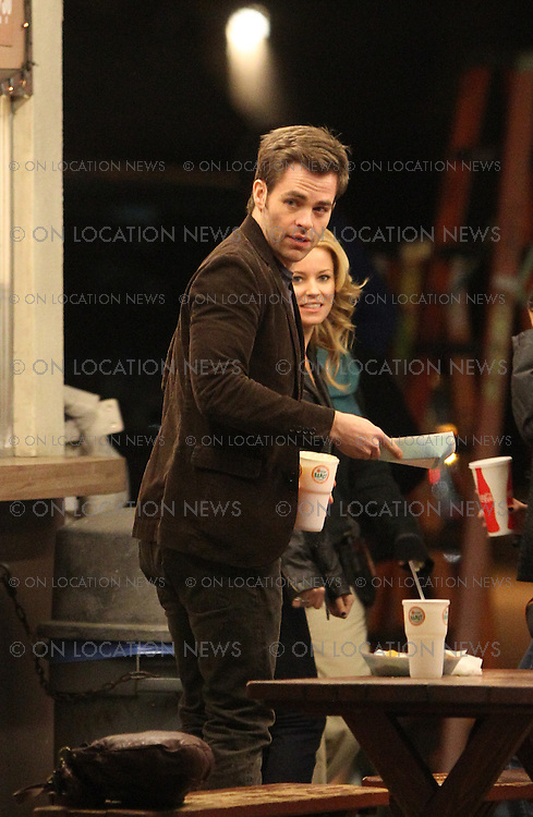 """January 27th, 2011 Los Angeles, CA. Non Exclusive. The first look at Chris Pine and Elizabeth Banks filming together for the dramatic movie """"Welcome To People"""". Chris Pine arrived on set with his ipad before filming scenes with Elizabeth Banks all night outside in the chilly weather at the well known and highly regarded Henry's Taco Stand in The San Fernando Valley. Photo by Eric Ford/ On Location News 818-613-3955 info@onlocationnews.com"""