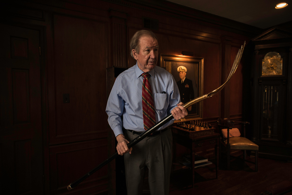 MCLEAN, VA -- 3/21/17 -- Buchanan holds the pitchfork presented to him after winning the 1996 New Hampshire primary. The pitchfork was a symbol that he used repeatedly on the campaign trail. Respected conservative commentator Pat Buchanan reflects on his career at his home in McLean. .…by André Chung #_AC24242
