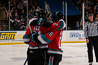 KELOWNA, BC - SEPTEMBER 28:  forward Jake Lee #21 of the Kelowna Rockets celebrates his first WHL goal against the Everett Silvertips at Prospera Place on September 28, 2019 in Kelowna, Canada. (Photo by Marissa Baecker/Shoot the Breeze)