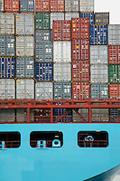 Two men on container ship