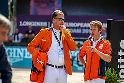 HOUTZAGER Marc (NED), BLES Bart (NED)<br /> Rotterdam - Europameisterschaft Dressur, Springen und Para-Dressur 2019<br /> Parcoursbesichtigung<br /> Longines FEI Jumping European Championship - 1st part - speed competition against the clock<br /> 1. Runde Zeitspringen<br /> 21. August 2019<br /> © www.sportfotos-lafrentz.de/Stefan Lafrentz