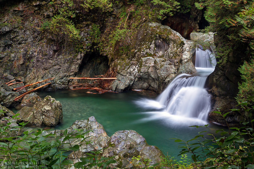 Twin Falls on Lynn Creek at Lynn Canyon Park in North Vancouver, British Columbia, Canada