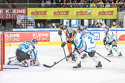 17.03.2019, Merkur Eisstadion, Graz, AUT, EBEL, Moser Medical Graz 99ers vs EHC Liwest Black Wings Linz, Viertelfinale, 3. Spiel, im Bild v.l.: Michael Ouzas (EHC Liwest Black Wings Linz), Dominik Grafenthin (Moser Medical Graz 99ers), Aaron Brocklehurst (EHC Liwest Black Wings Linz) // during the Erste Bank Icehockey 3rd quarterfinal match between Moser Medical Graz 99ers and EHC Liwest Black Wings Linz at the Merkur Eisstadion in Graz, Austria on 2019/03/17. EXPA Pictures © 2019, PhotoCredit: EXPA/ Dominik Angerer