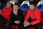 Manchester United Assistant Manager Mike Phelan Manchester United interim Manager Ole Gunnar Solskjaer and Michael Carrick first team coach of Manchester United during the Premier League match between Crystal Palace and Manchester United at Selhurst Park, London, England on 27 February 2019.