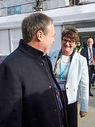 © Licensed to London News Pictures. 03/10/2017. Manchester, UK. DUP leader ARLENE FOSTER seen arriving on day three of the Conservative Party Conference. The four day event is expected to focus heavily on Brexit, with the British prime minister hoping to dampen rumours of a leadership challenge. Photo credit: Ben Cawthra/LNP