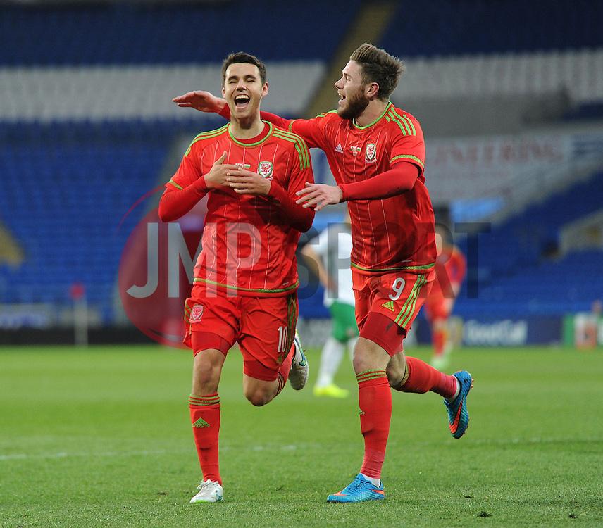 Tom O'Sullivan of Wales u21s (Cardiff City) celebrates his  second goal with Wes Burns of Wales u21s (Bristol City) - Photo mandatory by-line: Dougie Allward/JMP - Mobile: 07966 386802 - 31/03/2015 - SPORT - Football - Cardiff - Cardiff City Stadium - Wales v Bulgaria - U21s International Friendly