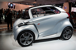 Peugeot concept prototype electric BB1 car on display at Frankfurt Motor Show 2009
