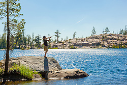 """Fishing Paradise Lake 3"" - photograph of a teenage boy fishing at Paradise Lake, California."