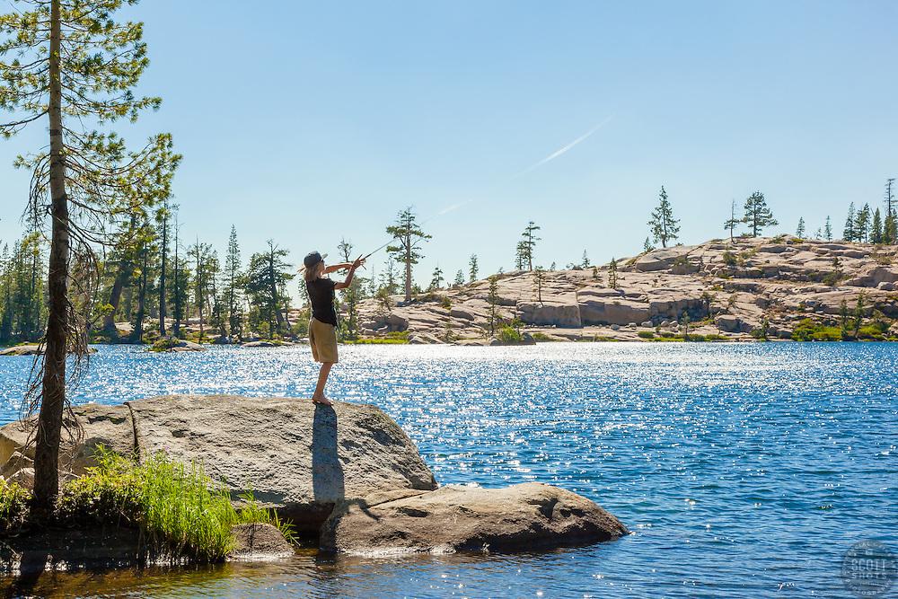 """Fishing Paradise Lake 3"" - photograph of a teenage boy fishing at Paradise Lake, California."