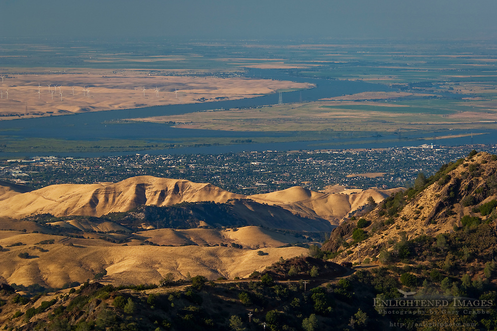 Overlooking the Sacramento - San Joaquin River Delta and Central Valley from the summit of Mount Diablo; Mount Diablo State Park; California