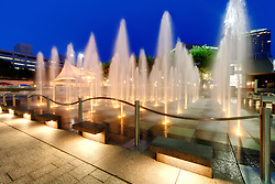 The main fountain Crown Center's square at dusk, Kansas City, Missouri.