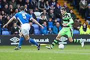 Forest Green Rovers Christian Doidge(9) runs forward during the Vanarama National League match between Macclesfield Town and Forest Green Rovers at Moss Rose, Macclesfield, United Kingdom on 12 November 2016. Photo by Shane Healey.