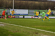 Forest Green Rovers Keanu Marsh-Brown(7) shoots at goal scores a goal 2-2 during the Vanarama National League match between Forest Green Rovers and Torquay United at the New Lawn, Forest Green, United Kingdom on 1 January 2017. Photo by Shane Healey.