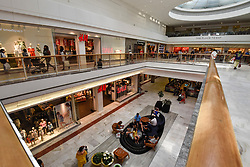 © Licensed to London News Pictures. 07/07/2018. LONDON, UK. As the nation watches the England v Sweden World Cup quarter-final on live on television, the normally very busy Brent Cross shopping centre experiences a lower than usual footfall.  Photo credit: Stephen Chung/LNP